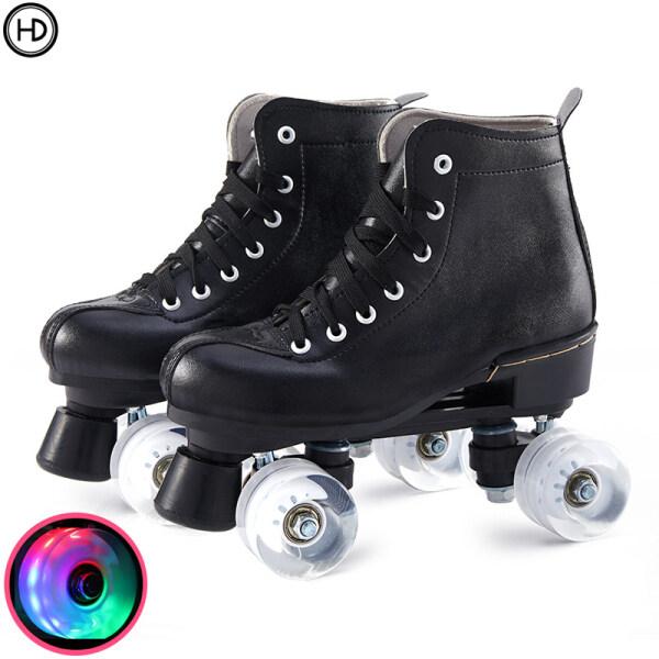 Mua Giày trượt patin hàng đôi màu trắng dành cho người lớn, giày trượt patin, giày trượt patin hàng đôi nam và nữ dành cho người lớn, đèn flash bốn bánh