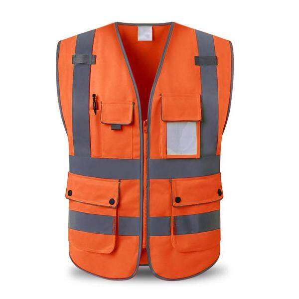 Unisex High Visibility Reflective Multi Pockets Construction Safety Vest
