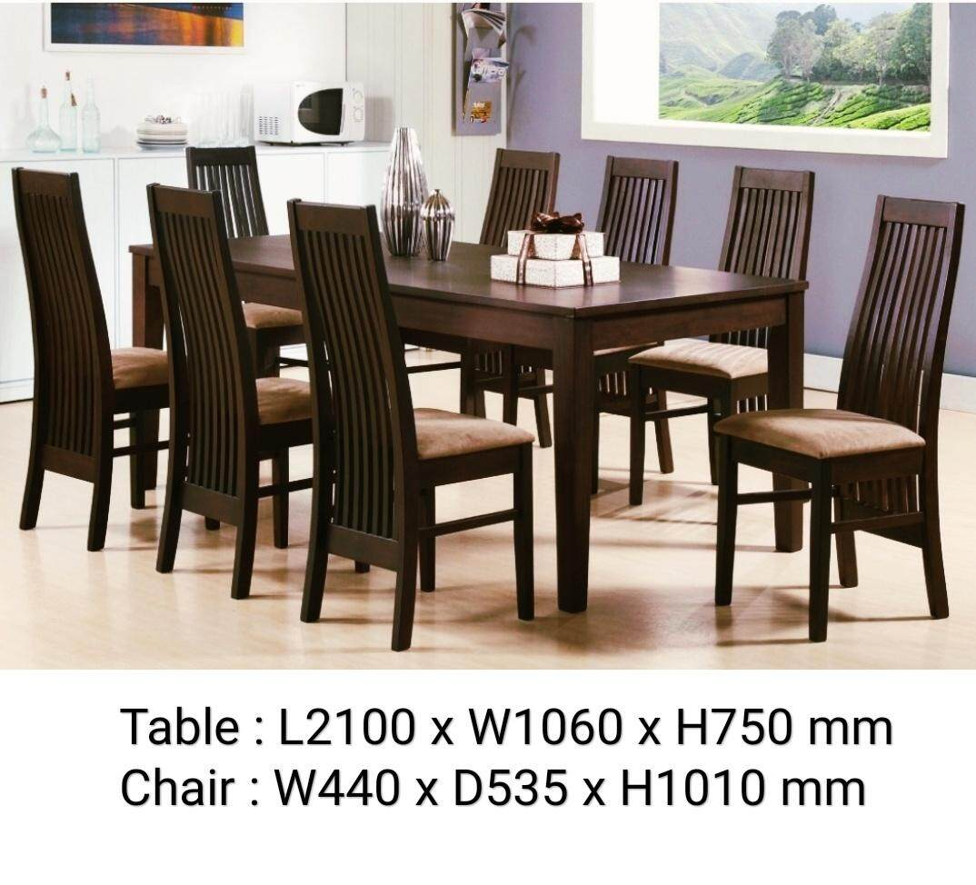 Solid Wood 8 Seater Dining Table Set, Wooden Dining Room Table And 8 Chairs