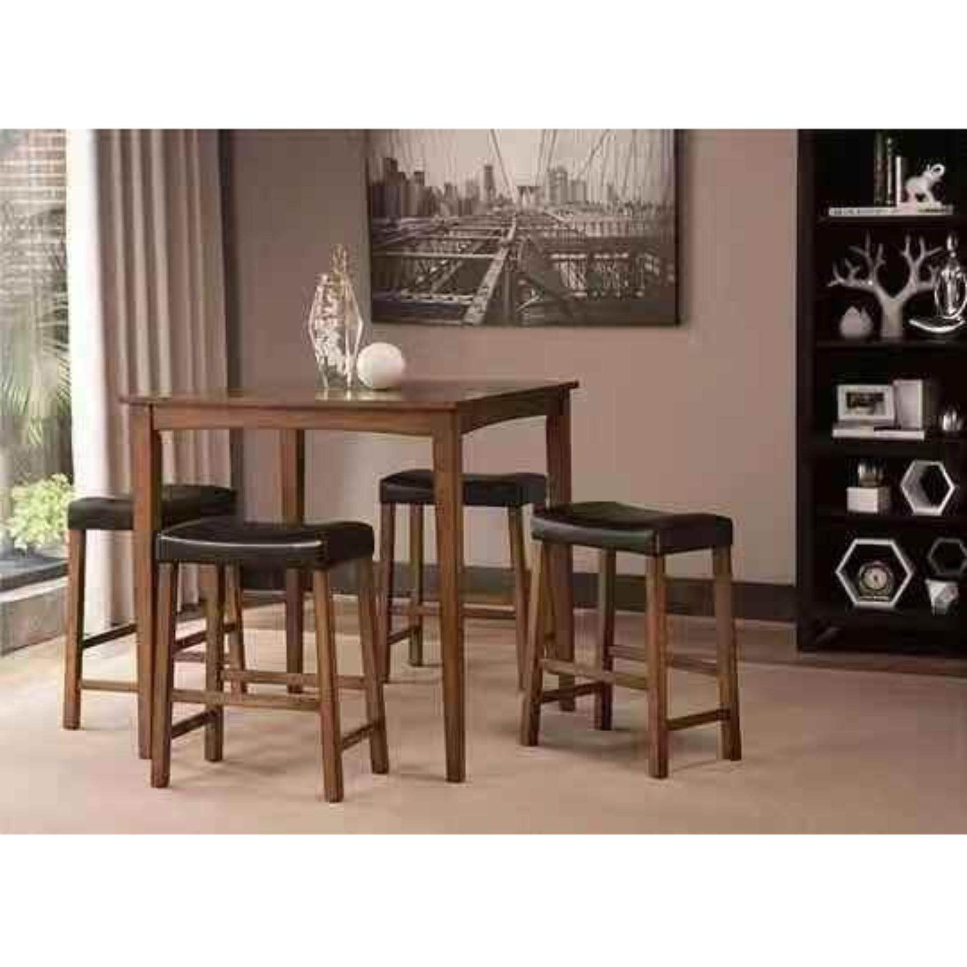 Export Grade 5-Piece Breakfast Table And Stools Set In Nut Brown / Kitchen Counter Height Dining Set Table Chair By Zoromees.