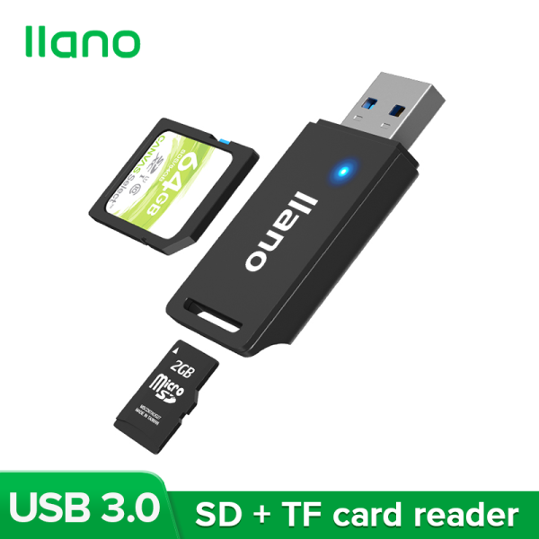 llano Black USB 3.0 Multi-function High-speed Card Reader Supports SD, TF and Other Memory Cards