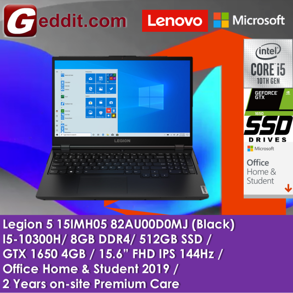 LENOVO LEGION 5 15IMH05 82AU00D0MJ GAMING LAPTOP (I5-10300H,8GB,512GB SSD,15.6 FHD,144Hz,GTX1650 4GB,WIN10) FREE LEGION Y GAMING BACKPACK + PRE-INSTALLED OFFICE H&S 2019 Malaysia