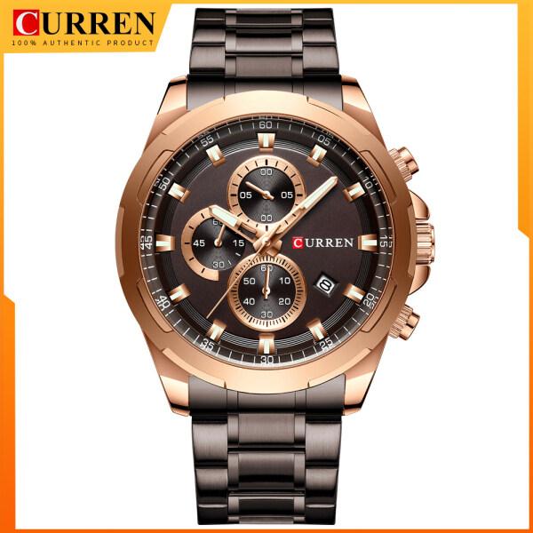 CURREN Waterproof Watches Men Top Brand Luxury Sport Wristwatch Auto Date Quartz Male Clock Stainless Steel Band 8354 Malaysia