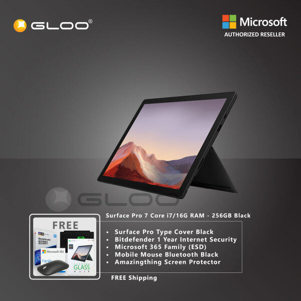 Microsoft Surface Pro 7 Core i7/16G RAM - 256GB Black - VNX-00025 + Surface Pro Type Cover [Choose Color] + Bitdefender 1 Year Internet Security + 365 Family (ESD) + Mobile Mouse Bluetooth Black + Amazingthing Screen Protector Malaysia