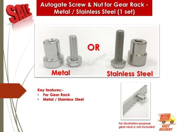 Autogate Screw & Nut for Gear Rack - Metal / Stainless Steel (1 set)
