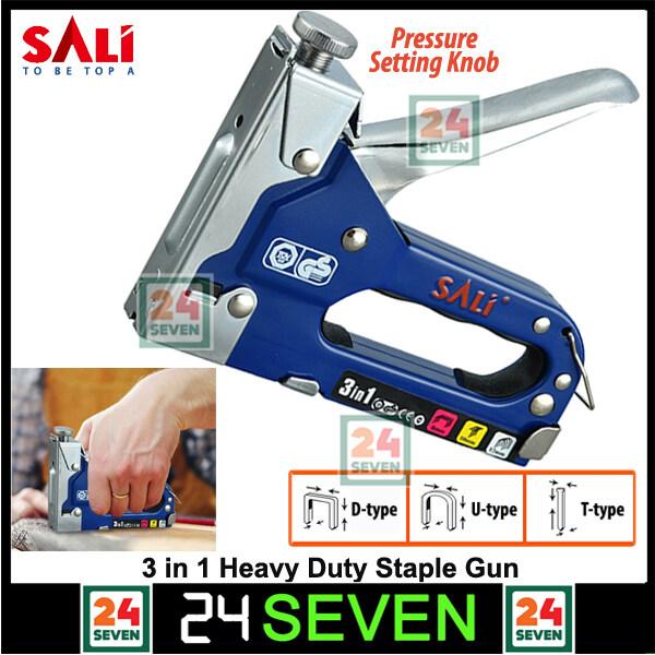 SALI Heavy Duty 3 In 1 Multitool Nail Stapler Gun Stapler Stapling Machine Nail Tacker Gun / D-type, U-type, T-type 3-in-1 for Upholstery, Fixing Material, Decoration, Carpentry, Furniture