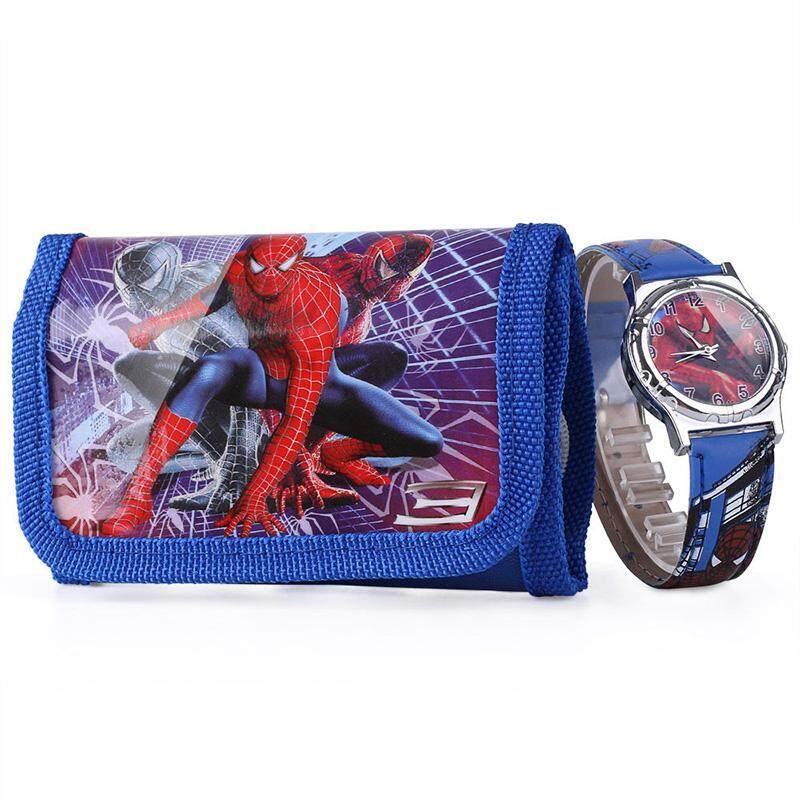 Kids Children Boy Spider-Man Cartoon Quartz Wrist Watch w/ Wallet Gifts Malaysia
