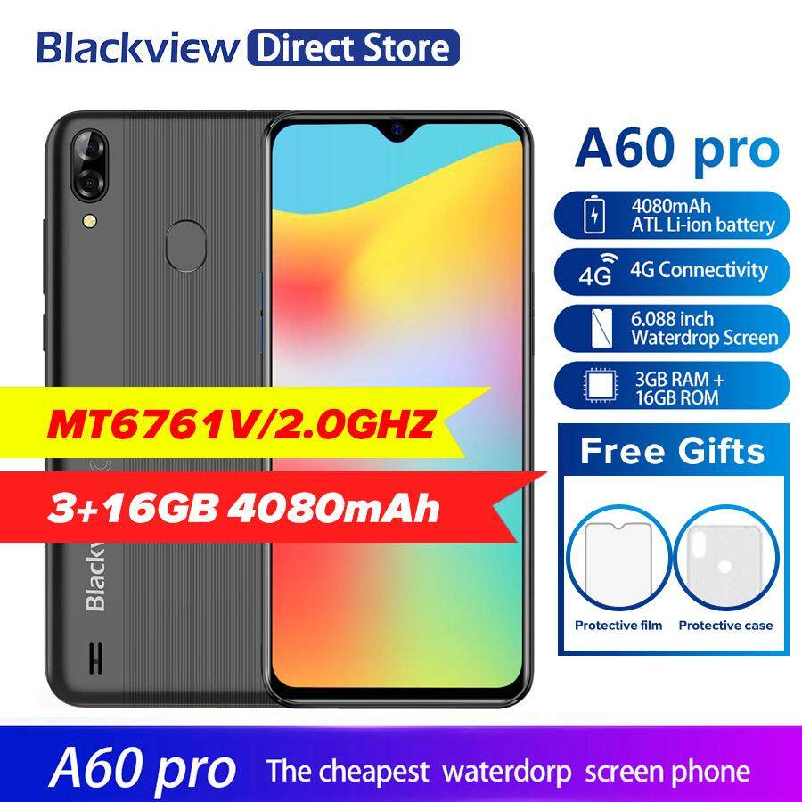 Blackview A60 Pro 4G Smartphone Android 9 0 3GB RAM 16GB ROM 4080mAh  Battery 6 1'' Waterdrop Screen Fingerprint Unlock Smart Phone with standard
