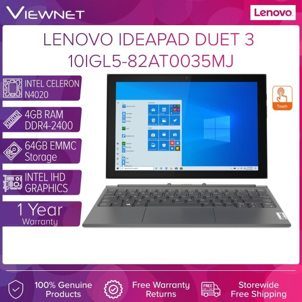 LENOVO IdeaPad Duet 3 10IGL5 82AT0035MJ LAPTOP INTEL CELERON N4020 4GB DDR4 64GB EMMC INTEL HD 10.1 IPS TOUCH 1 YEAR WARRANTY Malaysia