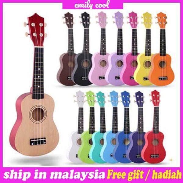 [Msia] Ready Stock 21 inch Soprano Ukulele 4 Strings Hawaiian Guitar Uke + String + Pick For Beginners kid Gift Malaysia
