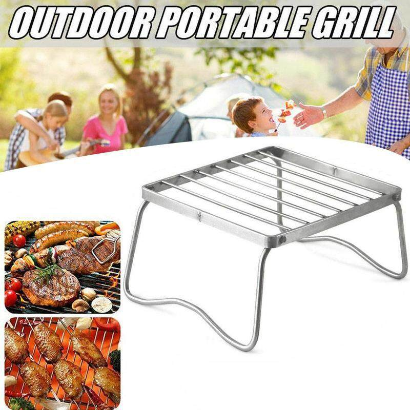 Mini Stainless Steel Grill  Portable Household Outdoor Folding Barbecue Rack BBQ Tool Camping Cooking Burner Stove Stand
