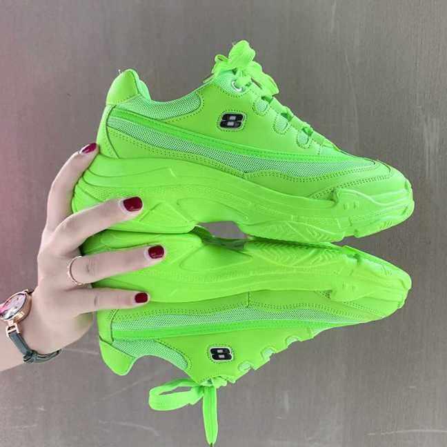 Mùa Thu Kẹo Màu Nền Tảng Phụ Nữ Sneakers Vàng Màu Xanh Lá Cây Orange Giày Thường Phụ Nữ Dày Sole Tennis Chunky Giày Giỏ Femme giá rẻ