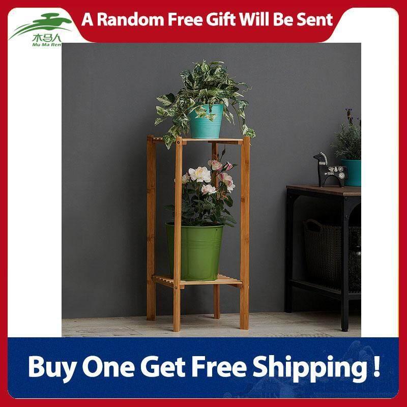 Multi Tier Wooden Plant Display Stand Indoor Outdoor Balcony Garden Flower Pot Shelf (2 Tier)
