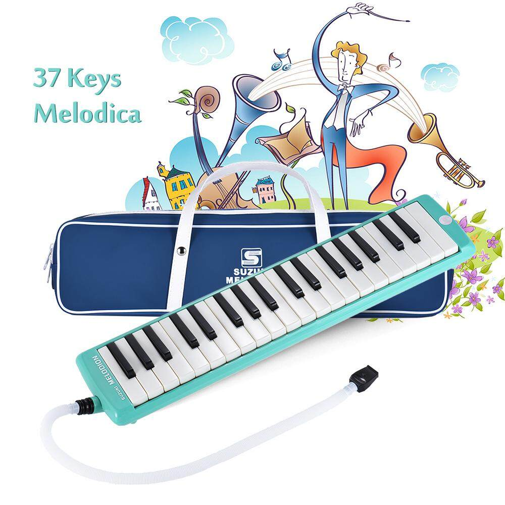SUZUKI MX-37D 37-Key Melodion Melodica Pianica Musical Instrument with Long & Short Mouthpiece Carry Bag Cleaning Cloth for Students Kids Children