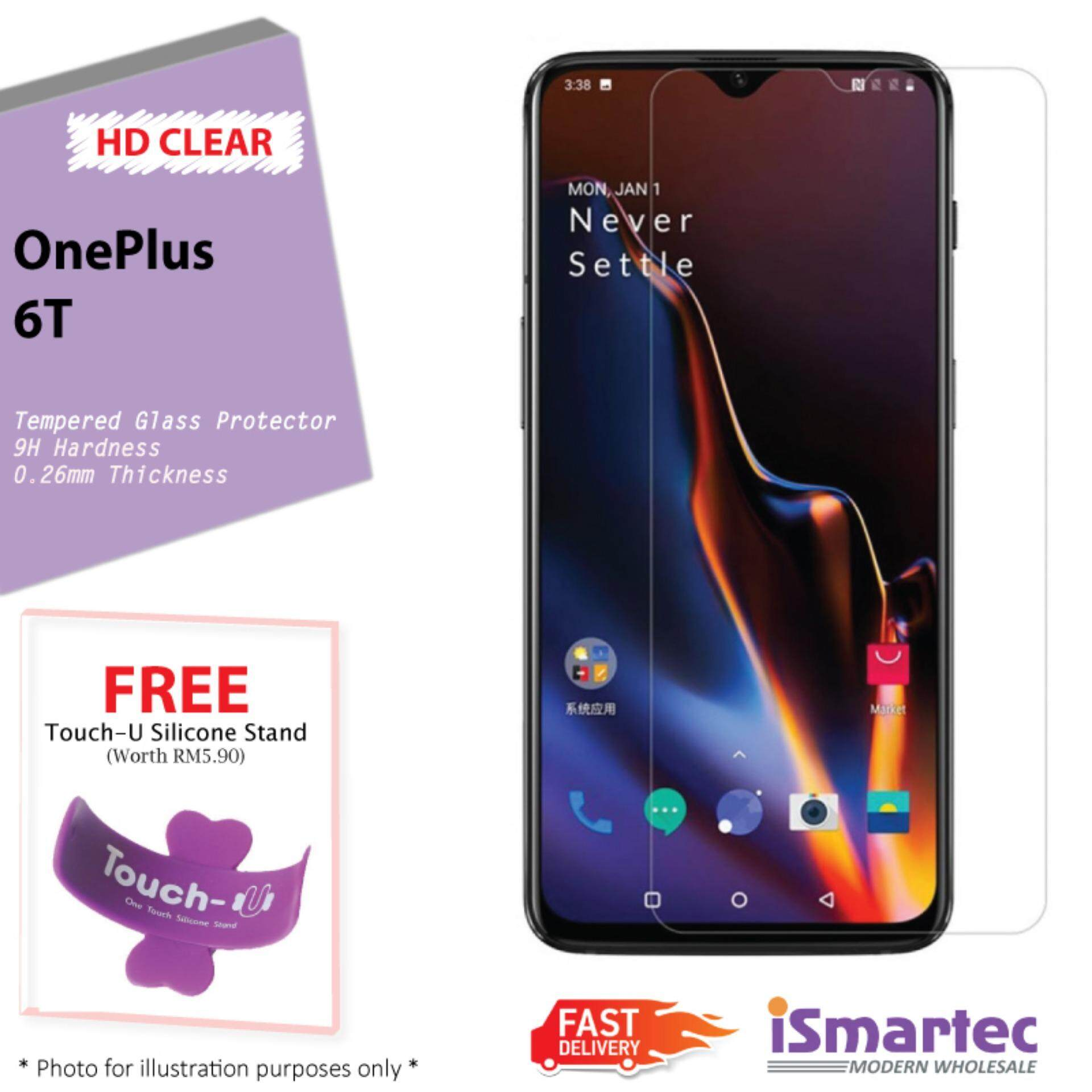 [Clear] Tempered Glass For OnePlus 6T + FREE Touch U
