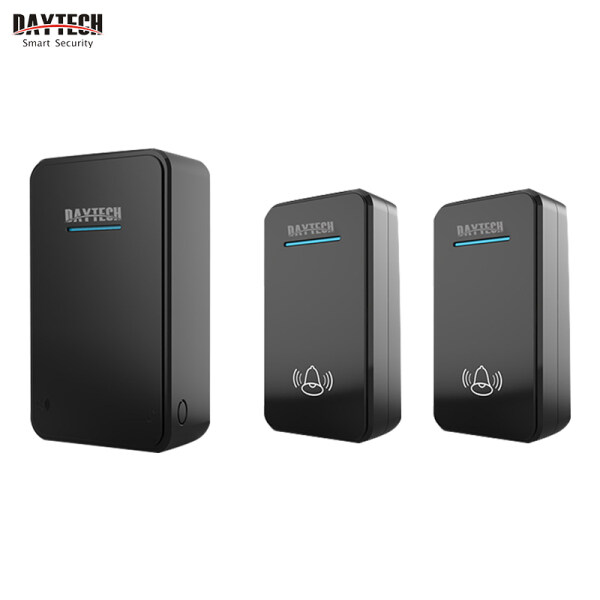 DAYTECH Door Bell Wireless Waterproof IP44 Battery-Operated Doorbell 300M Range 6 Volume 48 Ring Tones Door Chime 1 Receiver With 2 Button Home Security(DC01)