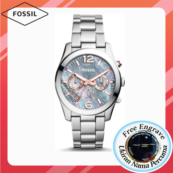 [FREE ENGRAVE] Original Fossil Womens Perfect Boyfriend Multifunction Gray Mother of Pearl Dial 39mm Jam Tangan Wanita with 2 year warranty ES3880 Malaysia