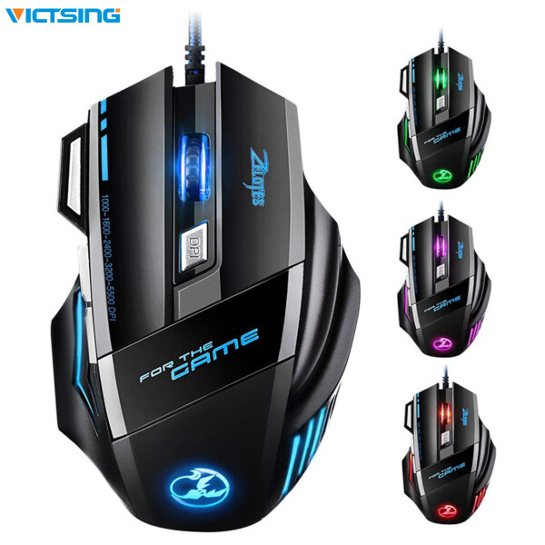 [New]VicTsing PC042 Gaming Mouse Optical LED 5500 DPI Zelotes Gaming Mouse with 7 Buttons 5 Levels DPI USB Wired High Accuracy for Pro Gamer