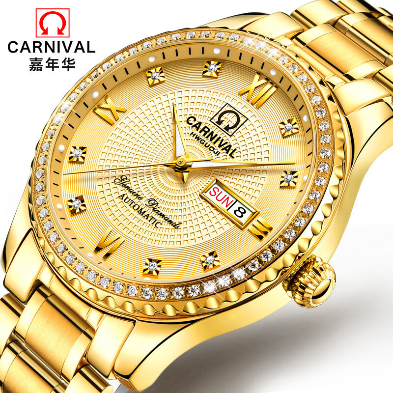 Authentic Carnival Swiss Watch Luminous Watch Fine Steel Automatic Mechanical Watch Mens Watch Waterproof Watch Is Free Of Postage Malaysia