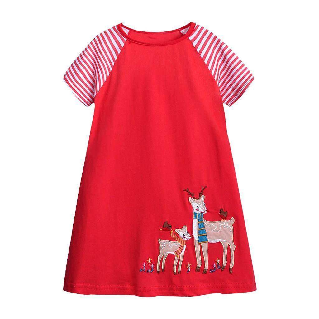 CocolMax Toddler Kids Baby Girls Cartoon Deer Stripe Princess Casual Dress Clothes