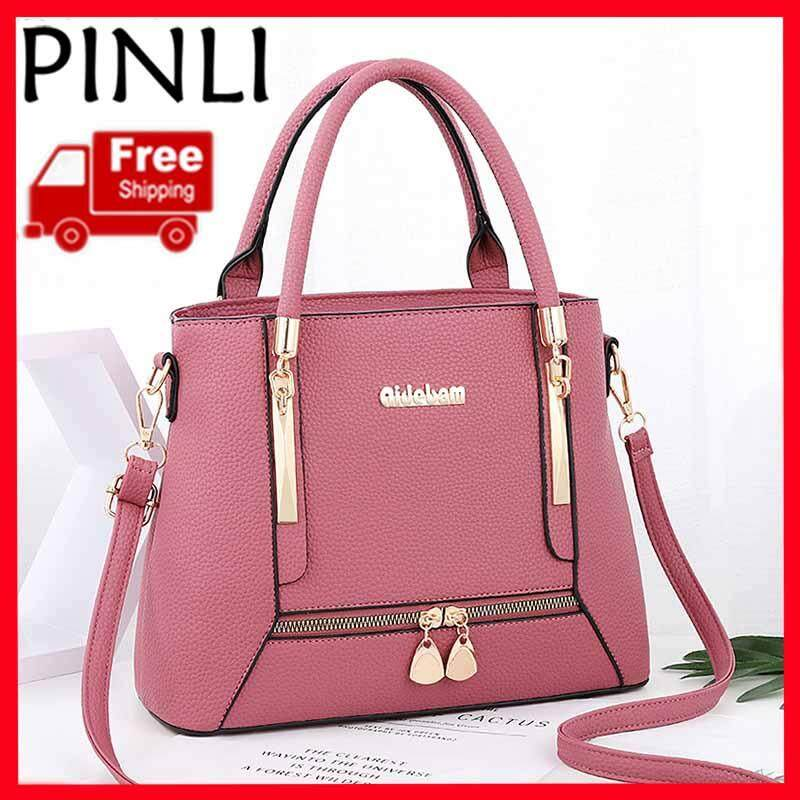 PINLI [Free Shipping] New Fashion Big Bag Ladies Shoulder Bag Simple Bucket Bag Portable Messenger Bag Han