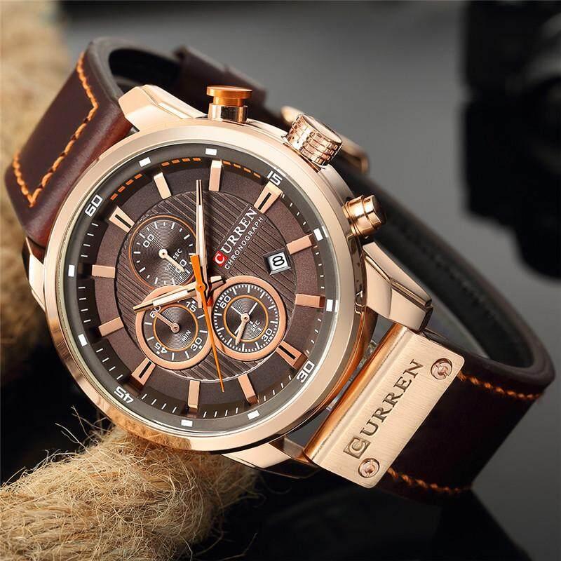 CURREN Luxury Brand Mens Watches 8291 Fashion Quartz Chronograph Men Sports Waterproof Watch Business Casual Leather Wristband Men Watch Malaysia