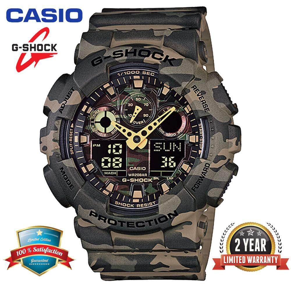 ***(Ready Stock) Original Casio G Shock_GA-100CM-5A Men Sport Watch Duo W/Time 200M Water Resistant Shockproof and Waterproof World Time LED Auto Light Wist Sports Watches GA100/GA-100 Camouflage Green Malaysia