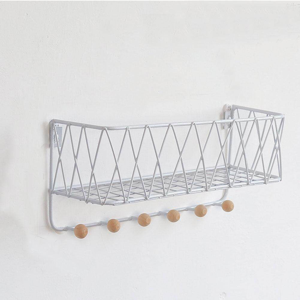 Nordic Style Iron Art Storage Rack with Hook Latticed Shaped Holder Wall Rack For Hanging Keys Hats  Coat
