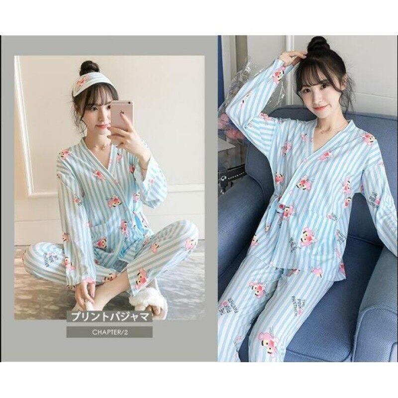 Nơi bán Xuân Hè Hai Mảnh Bộ Đồ Ngủ Kimono Nhật Bản Sexy V Cổ Tay Áo Dài Cotton Phụ Nữ Quần Áo Ngủ In Hình