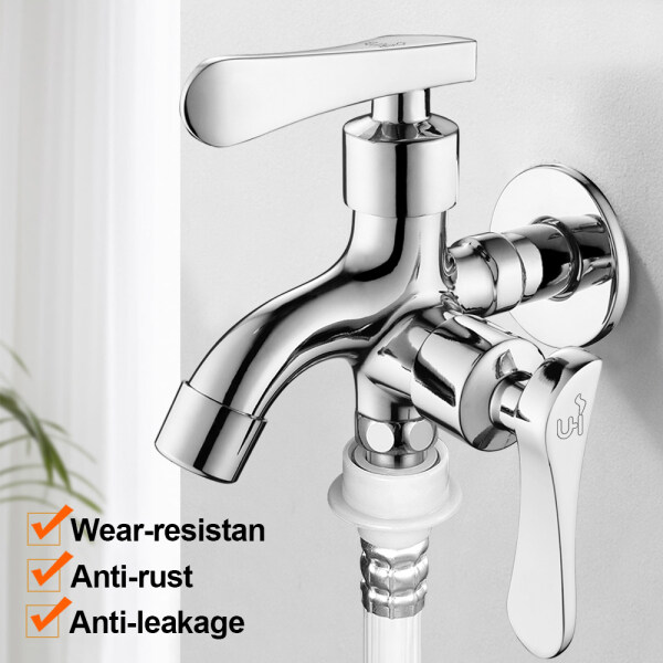 【2020 New Model】 washing machine / bathroom two-way wall mounted faucet two-way faucet multi-functional household washing machine faucet one in two out double head double use water out one in two dual-purpose faucet