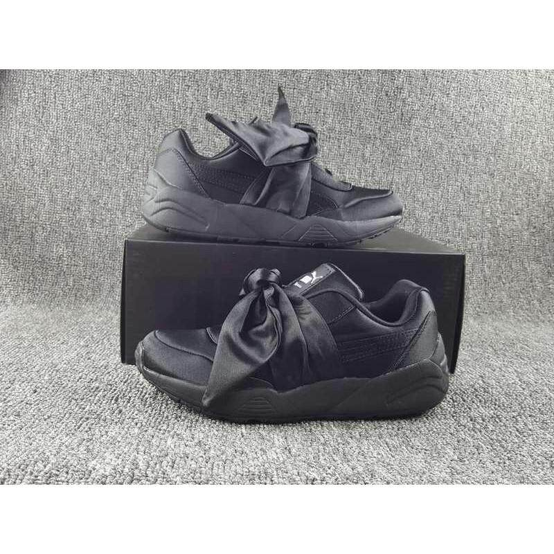 Brand Fashion 2018 Rihanna x Pumas Fenty Bow Women Flat Shoes Casual  Sneakers Black 1bc76f9e7