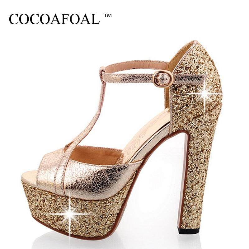 9aa62697b276e Woman High Heels Sandals Peep Toe Gladiator Women Shoes Wedges Party Silver  Gold Sexy Women High