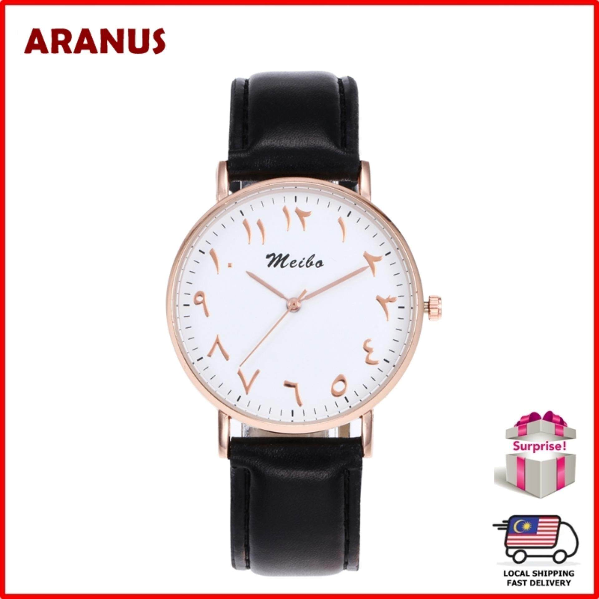 ARANUS Arabic Numbers Men Women Fashion Casual Leather Strap Band Analog Quartz Wrist Watch Jam Tangan Wanita Malaysia