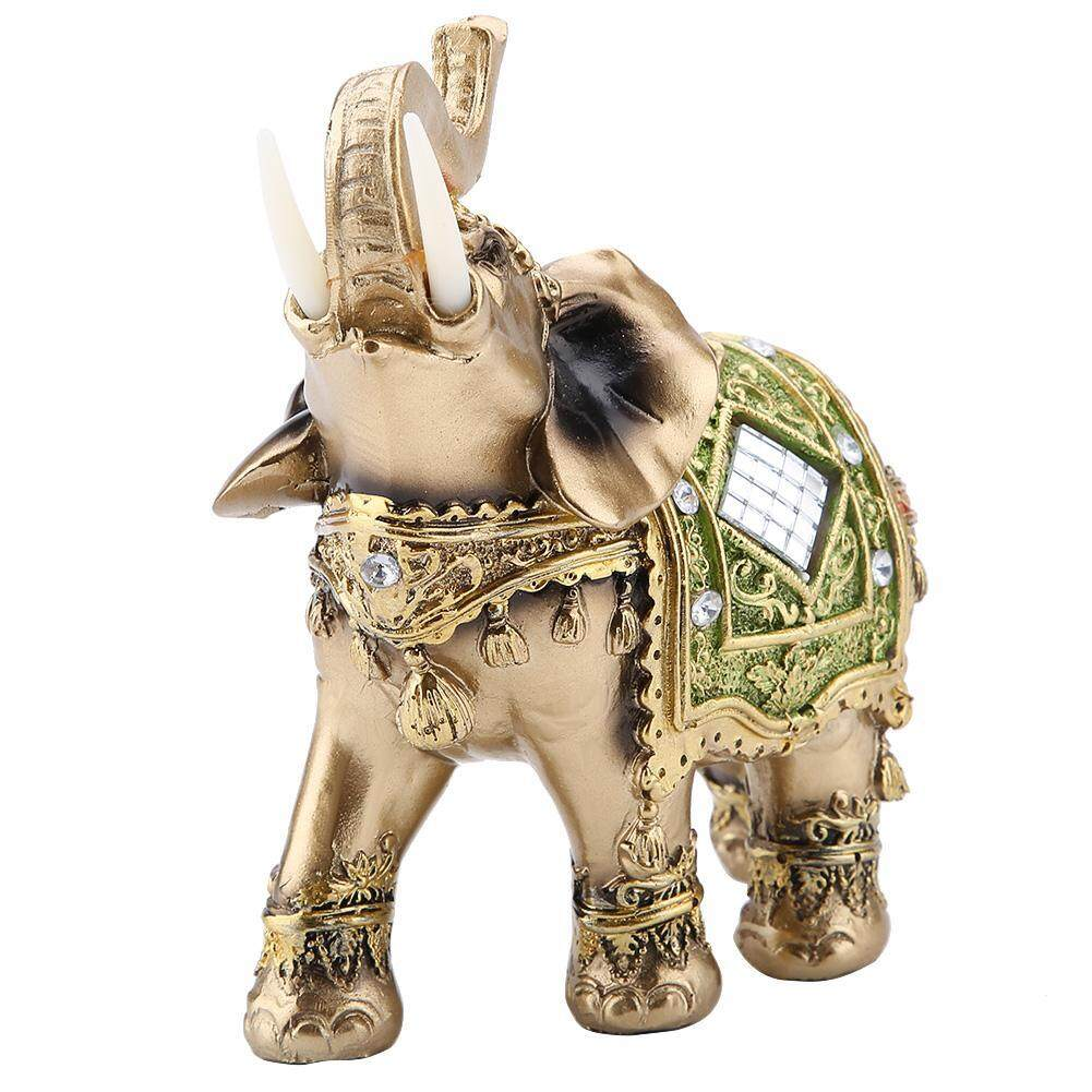 Lucky Feng Shui Green Elephant Statue Sculpture Wealth Figurine Gift Home Decoration