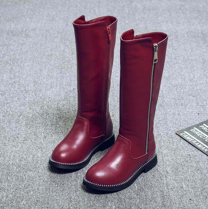 Giá bán Mùa Đông Bé Gái Da Thật Chính Hãng Da Giày Cao Trẻ Em Ủng Công Chúa Dài Lông Ấm Áp Giày Bốt Martin Nữ Trẻ Ủng