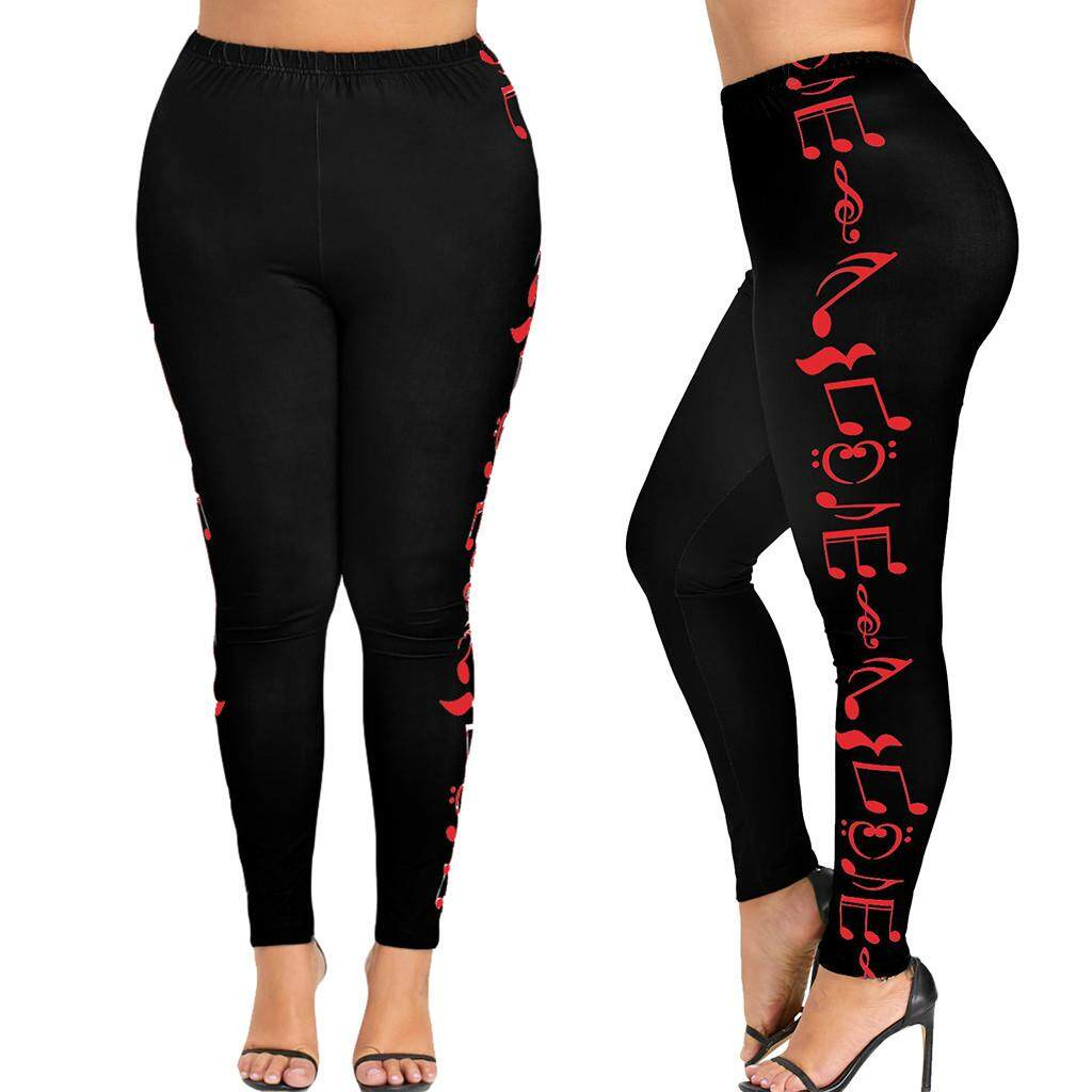 1909b15185cd9 dreambeautry store-Fashion Women High Waist Plus Size Yoga Sport Pants  Music Note Leggings Trousers