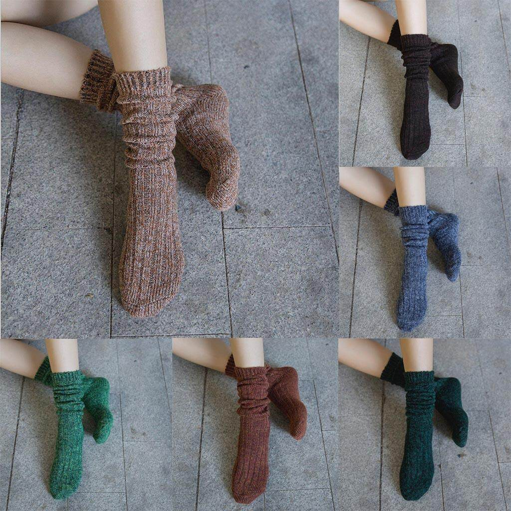 Man Women Middle Tube Cotton Socks Solid Ladies Warm Soft Casual Socks