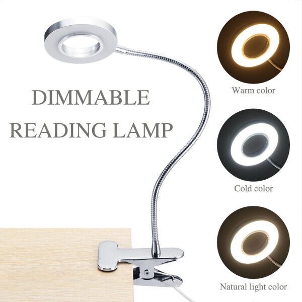 24 Đèn LED Đọc Sách USB, Đèn Bàn Kẹp Đèn Đọc Sách Với 3 Chế Độ Màu, 10 Độ Sáng Mờ & Đèn Ngủ Cổ Ngỗng Linh Hoạt 360 °, Hoàn Hảo Để Đọc Sách Ban Đêm, Trang Điểm, Nghệ Thuật Làm Móng, Xăm, Làm Móng