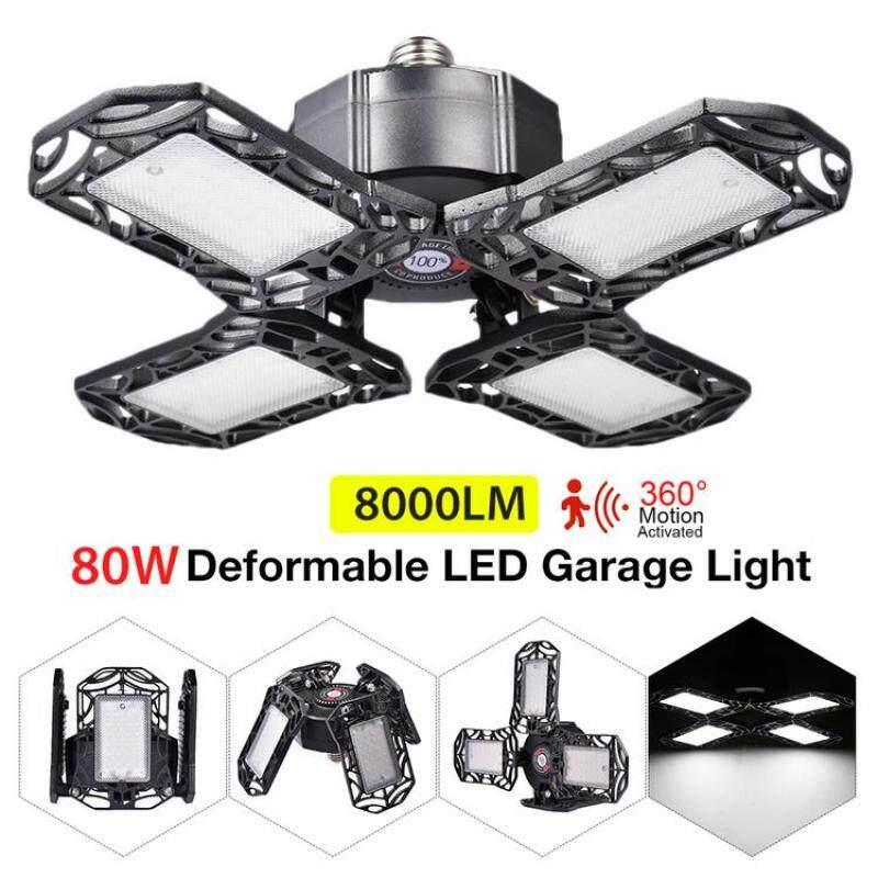 Đèn Led nhà để xe có thể thay đổi, đèn trần cảm ứng ra đa có thể gập lại, cho xưởng kho 85-265V màu trắng lạnh