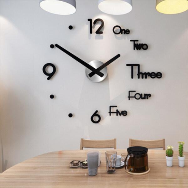 Quiversnowy Đồng Hồ Treo Tường Lớn Đồng Hồ Dán Tường 3D Thiết Kế Hiện Đại Trang Trí Nhà Im Lặng Phòng Khách Acrylic Sừng Thạch Anh bán chạy
