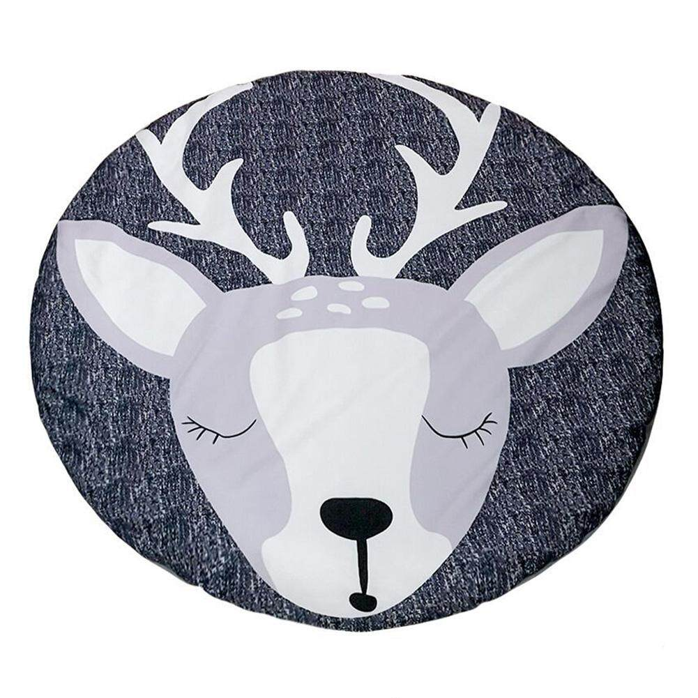 Hq Kids Elk Pattern Cotton Round Mat For Play Crawl Baby Room Ornament By Hiquuen.