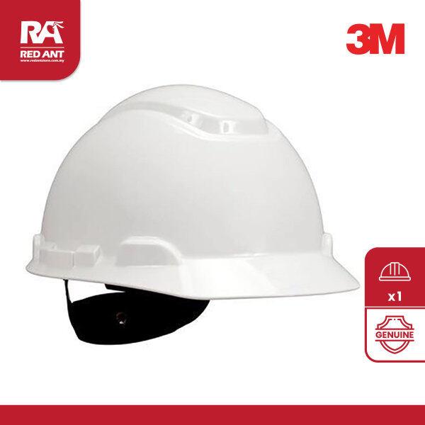 (1SET) 3M SAFETY HELMET SERIES H-701R WHITE / 4-POINT RATCHET SUSPENSION / INCLUDING CHIN STRAP