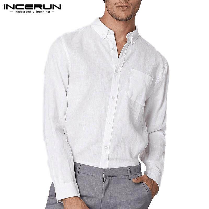 124df94ec INCERUN Mens Cotton Linen Long Sleeve Slim Fit White Dress Shirts Solid  Button Down Tops