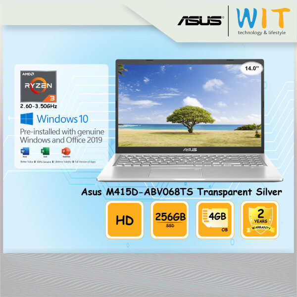 Asus Laptop M415D-ABV068TS Transparent Silver/AMD Ryzen 3-3250U 2.60~3.50GHz/4GB OB/256GB SSD/14.0HD/AMD Share Malaysia