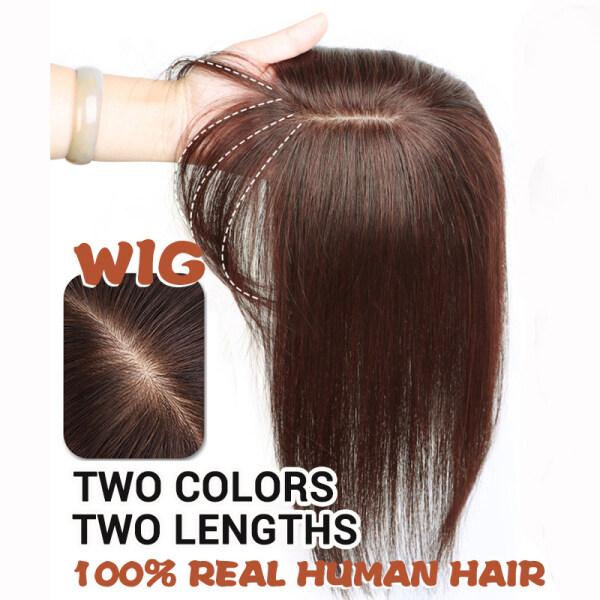 Buy 【ready stock】32cm dark brown Real  human hair Straigh With clip women wig Increase hair volume Air bangs Singapore