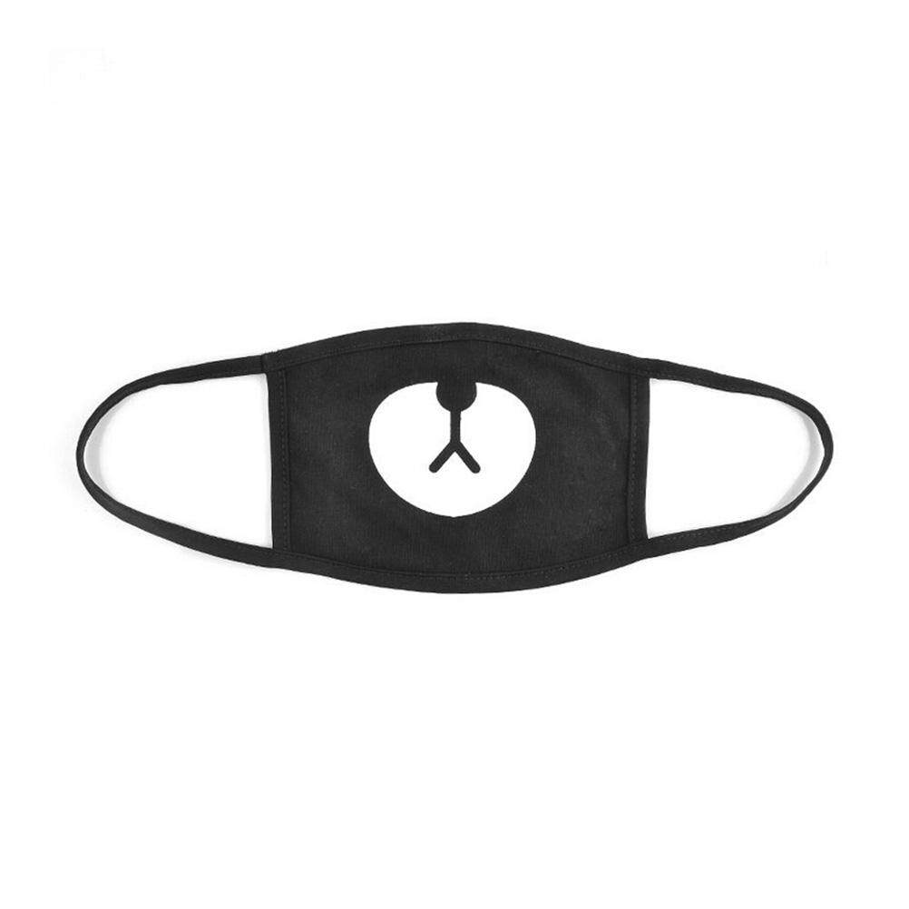 Ministar Black Cute Bear Unisex Cotton Mouth Face Mask Respirator For Cycling Anti-dust