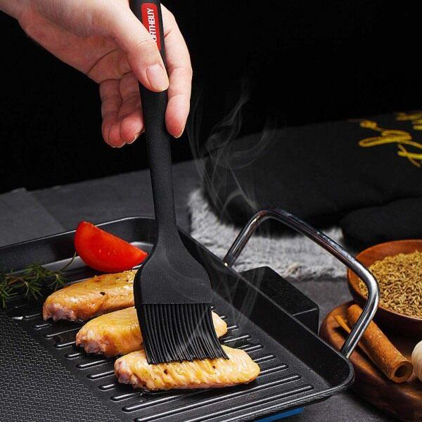 HP7HG DIY Reusable Heat-Resistant Silicone Baking Kitchen Supplies Scraper BBQ Brush Oil Brush BBQ Tools