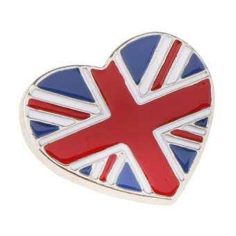GuangquanStrade หัวใจยูเนี่ยนแจ็คหมุดเข็มกลัดธงประจำชาติของอังกฤษเข็มกลัดตราสัญลักษณ์ SILVER-