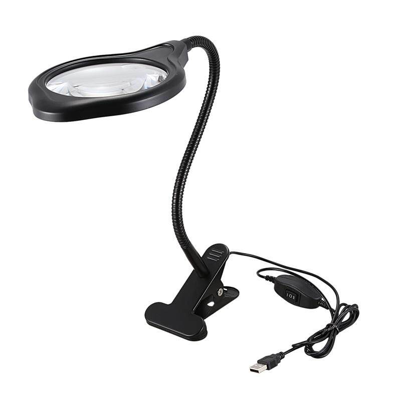 Bright Light Desk Gooseneck Magnifier Lamp with Metal Large Clamp, Magnifying Glass with Adjustable Light for Daily Hobbies Repairing, Reading, Crafts