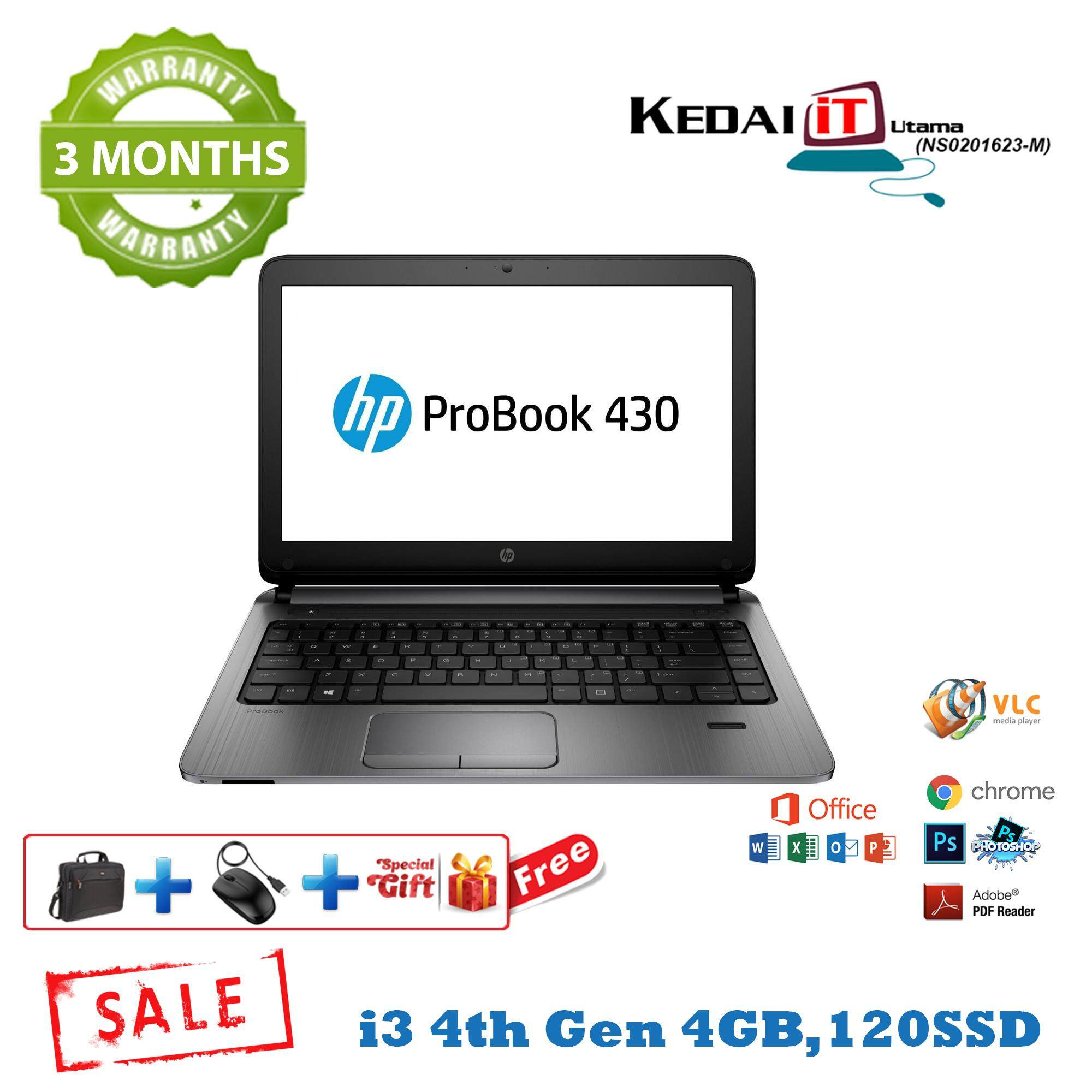 Hp ProBook 430 G2 i3 4th Gen Laptop , 128 SSD, 4GB RAM, Webcam, 3 Months Warranty Free Items (Refurbished) Malaysia